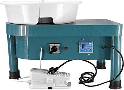 SKYTOU Pottery Wheel Pottery Forming Machine 25CM 350W Electric Pottery Wheel with Foot Pedal DIY Clay Tool Ceramic Machine Work Clay Art Craft Blue