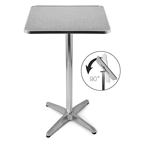 Altezza Tavolo Ristorante.Bakaji Tavolino In Alluminio Per Esterno Pieghevole 60 X 60