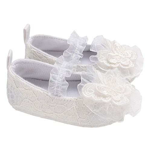 lakiolins Toddler Baby Girl Lace Flowers Christening Baptism Dress Shoe  Princess Mary Jane White Size S ce46524d6a38