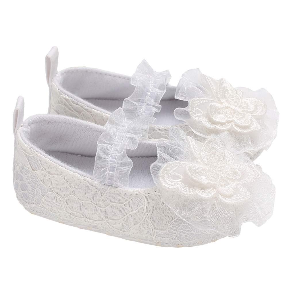 lakiolins Toddler Baby Girl Lace Flowers Christening Baptism Dress Shoe Princess Mary Jane White Size L