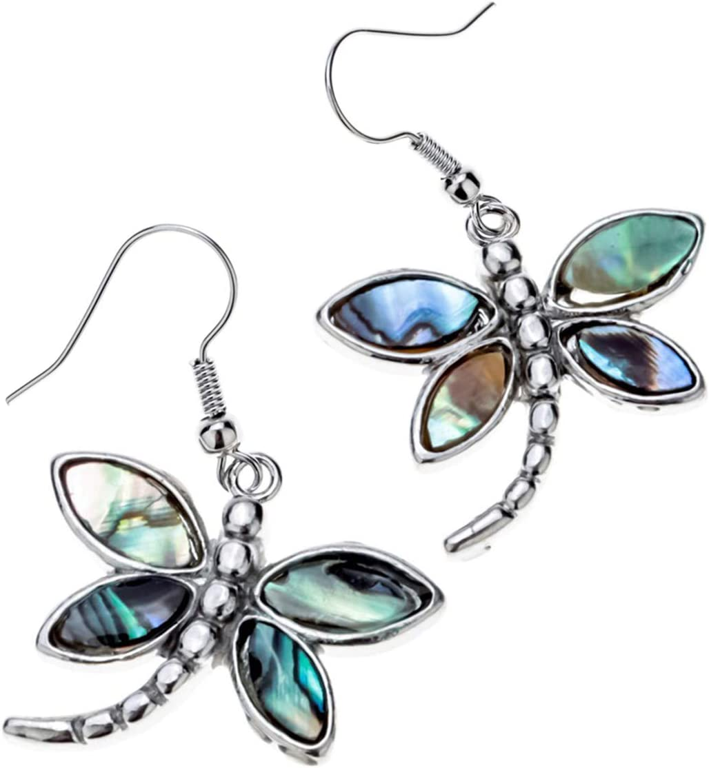 Szxc Jewelry Women Lovely Dragonfly Natural Abalone Shell Dangle Earrings (Green)