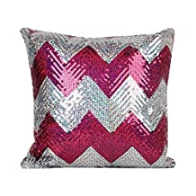 OJIA Stylish Sequin Mermaid Throw Pillow Cover with Color Paillette Design Faux Suede Decor CushionPillowcase (Rosy, 16 x 16 Inch)