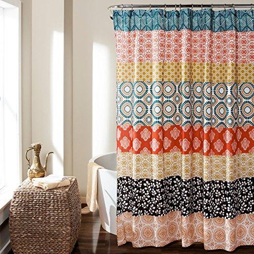61MLCiI%2BsdL - Lush Decor Bohemian Stripe Shower Curtain