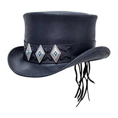 acf50a0a10cb Voodoo Hatter El Dorado-Lace Concho Band by American Hat Makers Leather Top  Hat at Amazon Men's Clothing store: