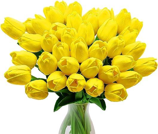 Fiori Tulipani.Fiori Di Tulipano Artificiale 10 Pezzi Di Fiori In Lattice Con