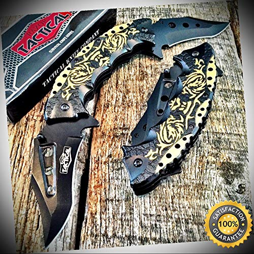 11.5'' GOLD Dragon- Two Blade RAZOR Spring Assisted Open Pocket Knife - Outdoor For Camping Hunting Cosplay (Cummins Pocket Knife)