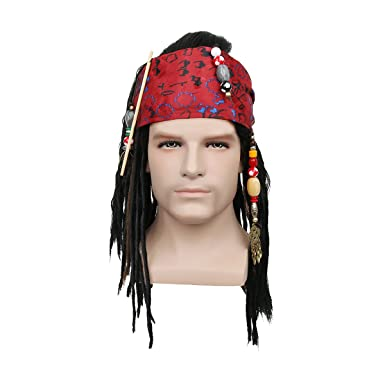pirates wigs bandana dreadlock dlx jack sparrow halloween costume - Jack Sparrow Halloween Costumes