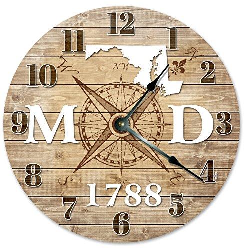 Sugar Vine Art Maryland Clock Established in 1788 Decorative Round Wall Clock Home Decor Large 10.5