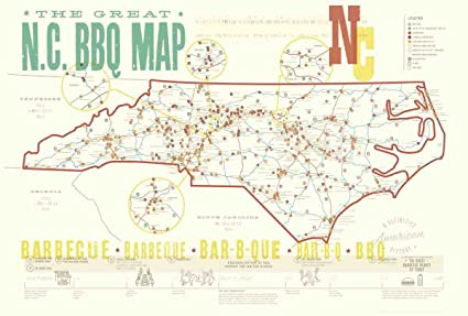 Amazon.com: EDIA Maps Great NC BBQ Map // Poster: Posters & Prints