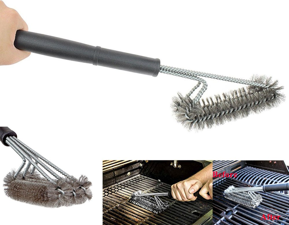 Grill Brush Pro Waitiee Grill Bristles BBQ Barbecue Brush are made of STAINLESS STEEL ,More Durable and Effective with Free Barbecue gloves,Perfect Cleaner & Scraper for Grill Cooking Grates, Racks, & Burners (Barbecue Brushes)