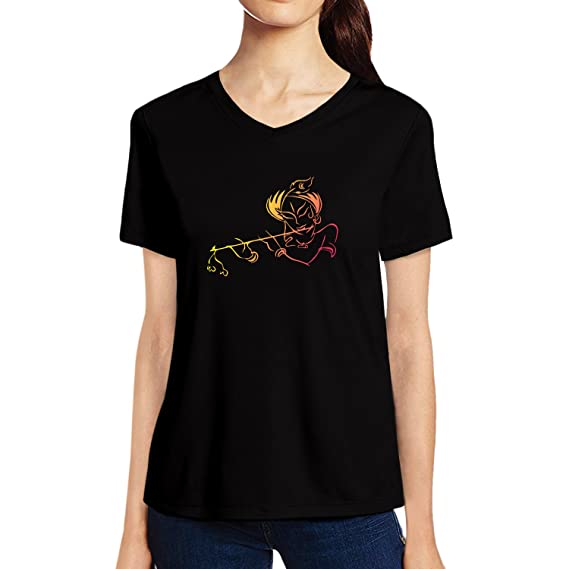 Buy Pooplu Womens Lord Krishna Cotton Printed V Neck Half Sleeves  Multicolour T Shirt. Hindu God, Krishna, Murlidhar, Kanha, Symbol T Shirt  at Amazon.in