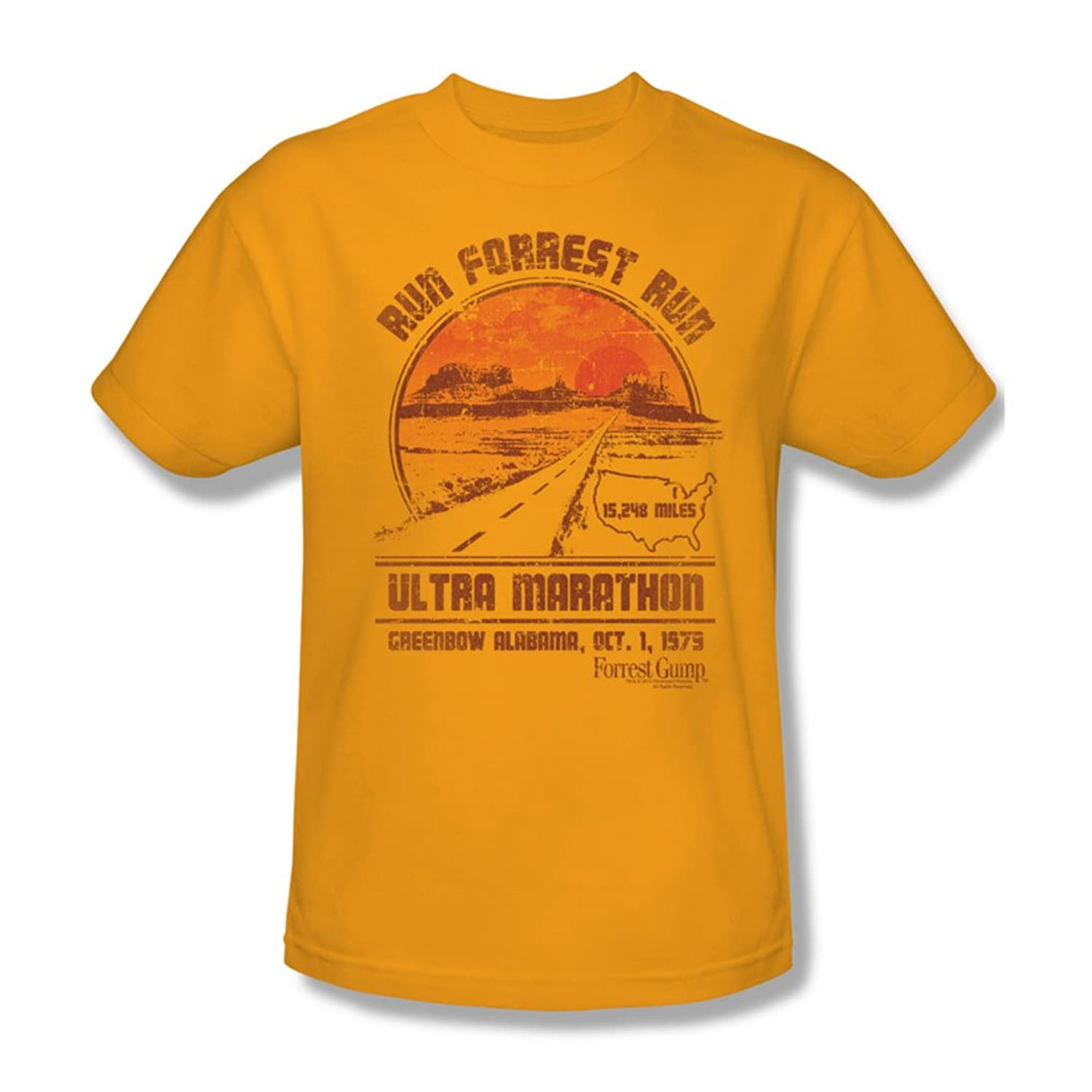 Forrest Gump - Mens Ultra Marathon T-Shirt In Gold