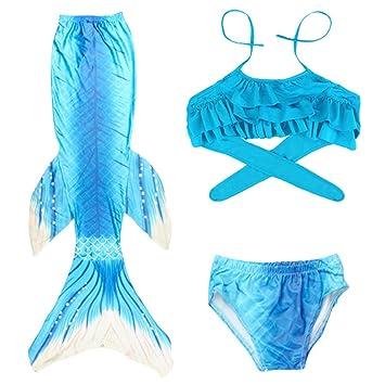 Cola De Sirena para NatacióN Traje BañO 3Pcs Mermaid Bikini ...