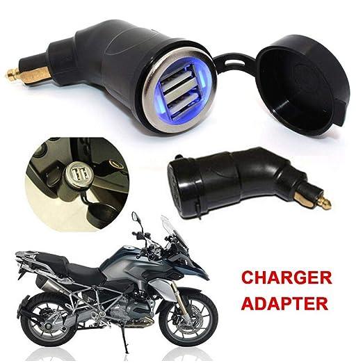 Nearthuk Adaptador de Puerto de Interfaz USB Doble Ajustable, Enchufe a Doble Cargador USB Adaptador de Enchufe para BMW R1200GS R1200RT F800 (Azul)