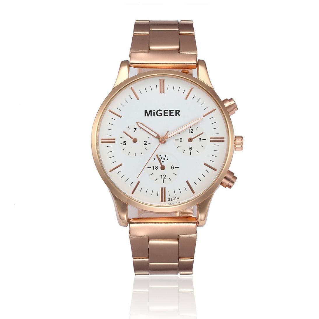 メンズビジネスウォッチ SINMAファッションスチールバンド腕時計 アナログクォーツ腕時計 MIGEER ホワイト B07283LXCLホワイト