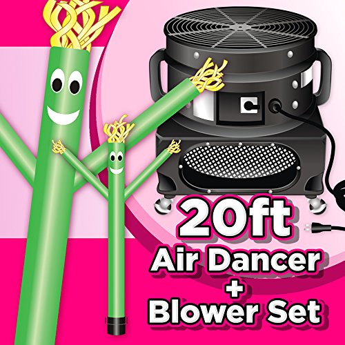 Wholesale Inflatables 20ft Tall Air Dancer Set Inflatable Tube Man Puppet with Blower - Green (Wholesale Inflatables)