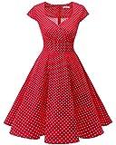 Bbonlinedress Women Short 1950s Retro Vintage Cocktail Party Swing Dresses Red Small White Dot 3XL