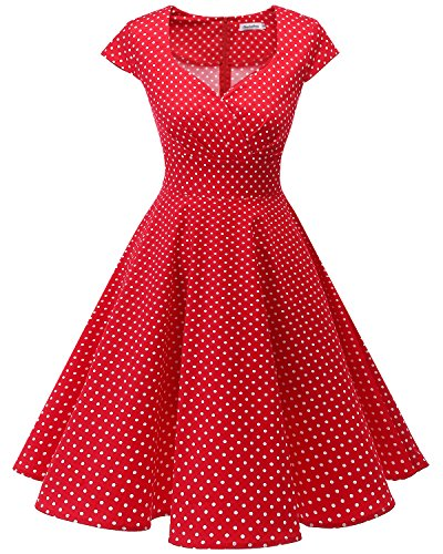 (Bbonlinedress Women Short 1950s Retro Vintage Cocktail Party Swing Dresses Red Small White Dot M)