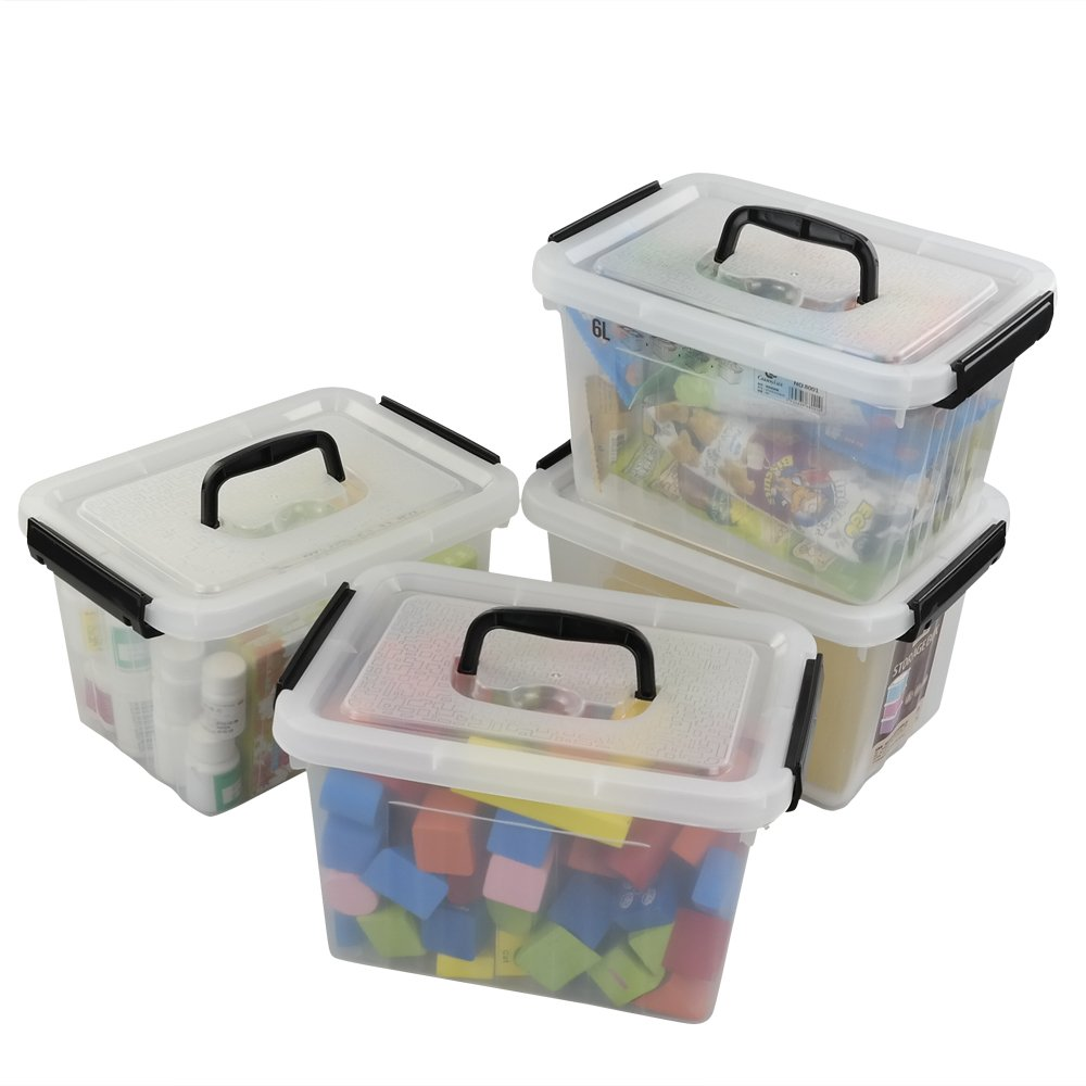 Ggbin 6 Quart Clear Latch Storage Box with Black Handle and Latches - 4 Pack