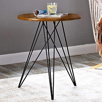 Runder Tisch Metall.Amazon De Chunlan Runder Esstisch Aus Massivem Holz 50cm