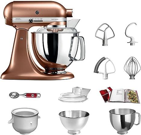 Robot de cocina, de KitchenAid, juego Artisan 5KSM175PS, incluye heladera y cuchara para helado para postres caseros cobre: Amazon.es: Hogar