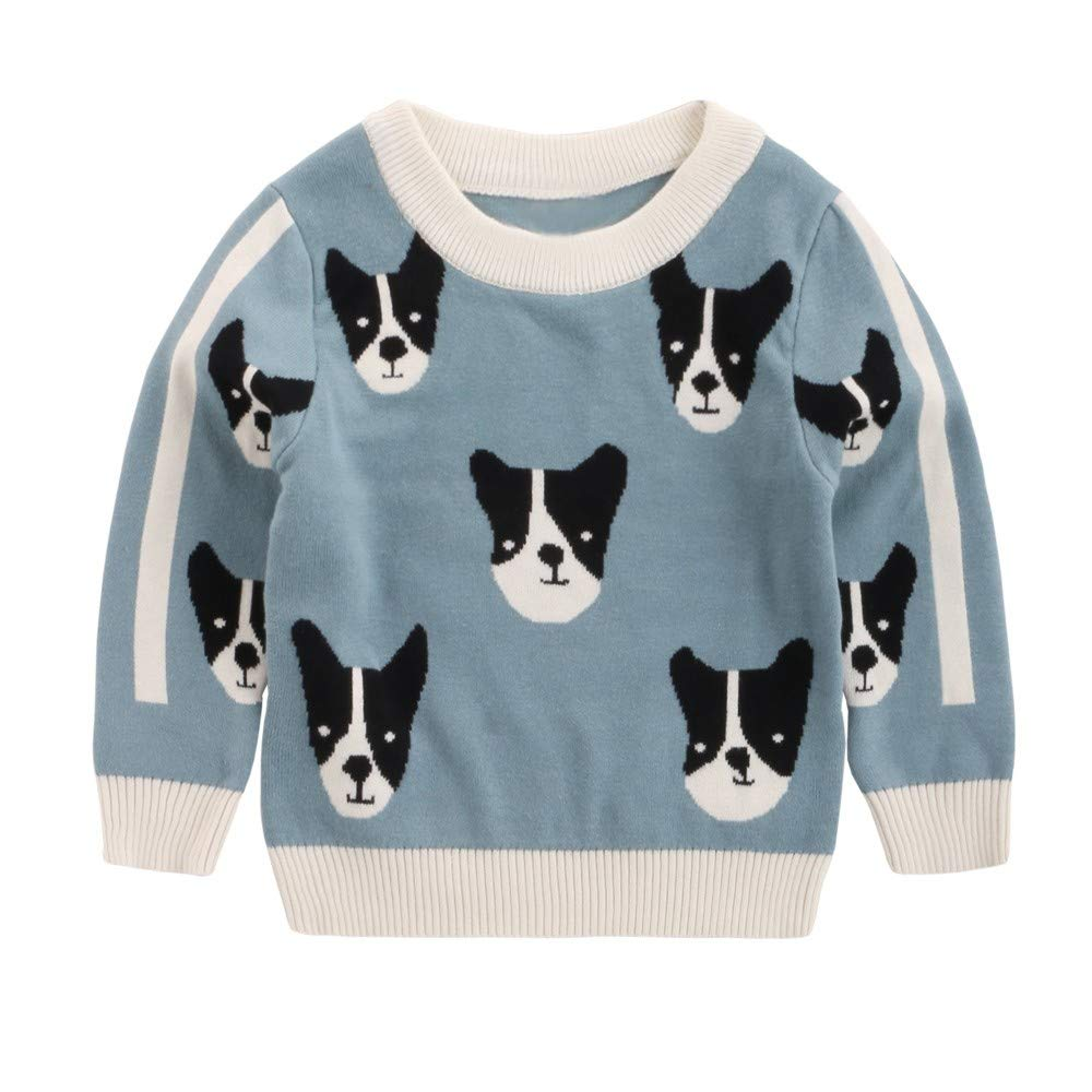 Toddler Cartoon Animals Puppy Sweater Long Sleeve Knitted Tops Baby Boy Girl Sweatshirt Warm Pullover Tops Winter Round Neck Jacket Outfits for 1-5 Years Baby