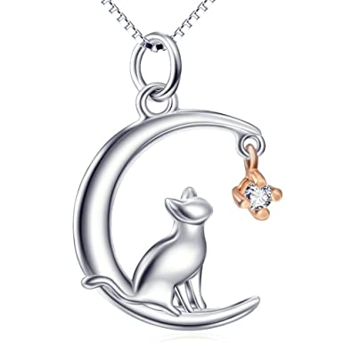 LUHE Cat Pendant Necklace Sterling Silver Cute Hypoallergenic Cat Jewelry for Women Girls,Girlfriend,Wife