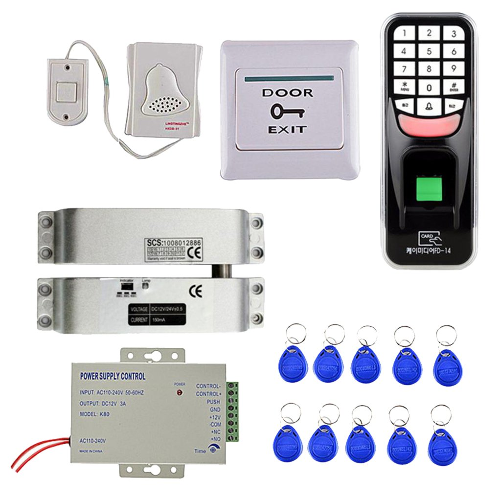 Flameer Universal 1000 Fingerprint Password Door Access Control Security System 10Keys Card Smart Lock Work Off-Line