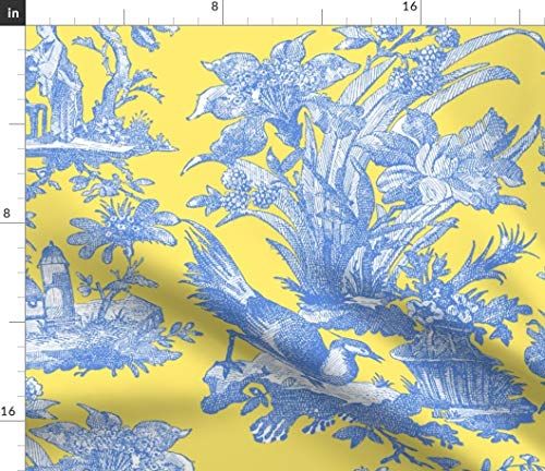 Spoonflower Citron Presse Fabric - Toile Citron Presse Lemon Yellow Provence Toile Asian Retreat by Peacoquettedesigns Printed on Organic Cotton Sateen Ultra Fabric by The Yard