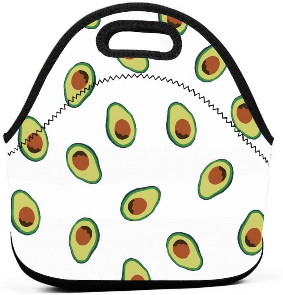 LPoxsmovw Avocado Repeating Pattern White Lunch Bag Portable Tote Bento Pouch Lunchbox Bag Multifunctional Zipper Package for School Work Office Handbag for School Office