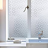 fancy-fix Window Film for Privacy UV Blocking Non-Adhesive Decorative Static Cling Glass Films for Bathroom Kitchen Office (35.4in x 78.7in)