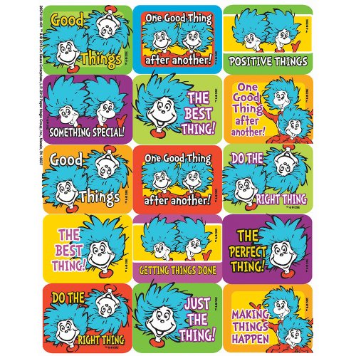Eureka Dr. Seuss Thing 1 and 2 Success Stickers, 120 pc, 1.4'' W x 1'' H