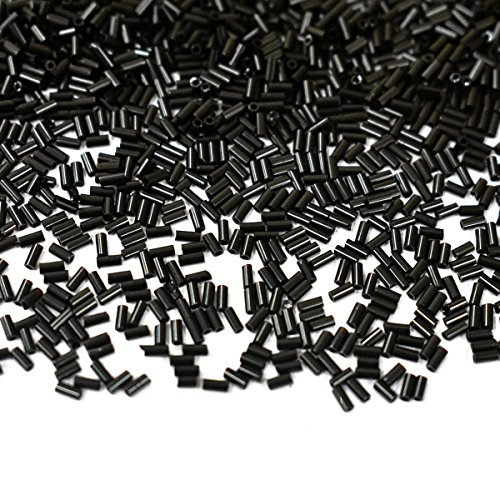 M.G.B Japanese Bugle Glass Tube Beads for Jewelry Making and Beading, Black Color, 3MM, 1440 Pieces