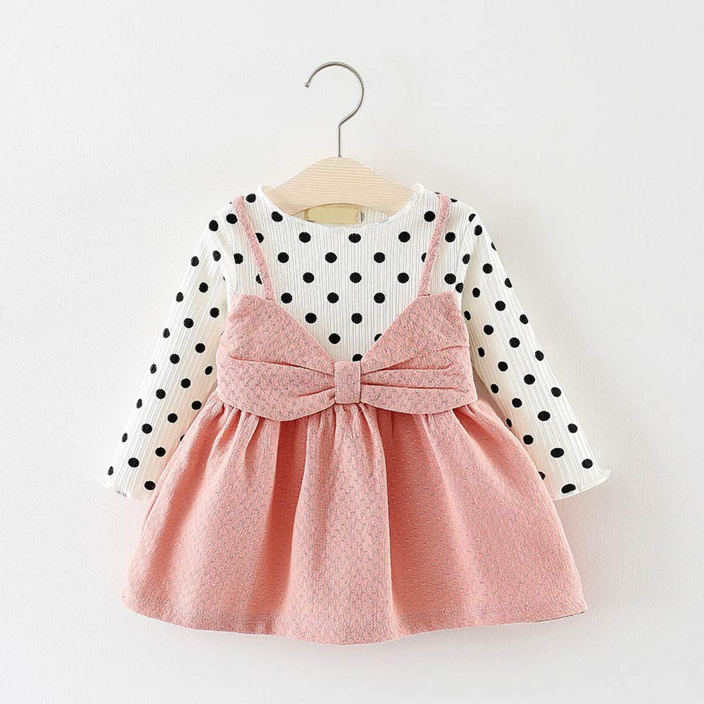 MISSWongg/_Babykleidung Baby M/ädchen Neugeborenes Kleidung Sets Langarm Punkt Sommerkleider Bowknot Prinzessin Kleid Baby M/ädchen Kleidung Outfits