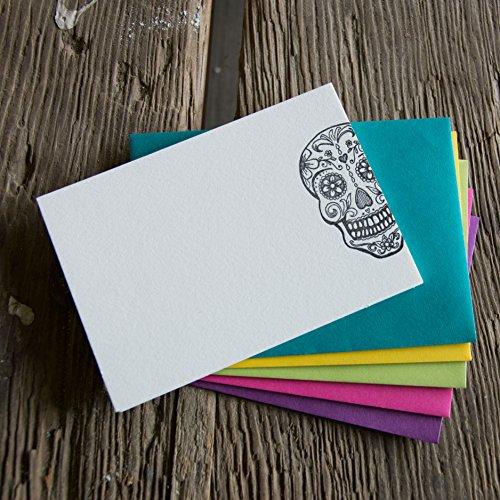 Sugar Skull Stationery Set, 10 pack, letterpress printed eco friendly. (Letterpress Baby Shower Invitations)