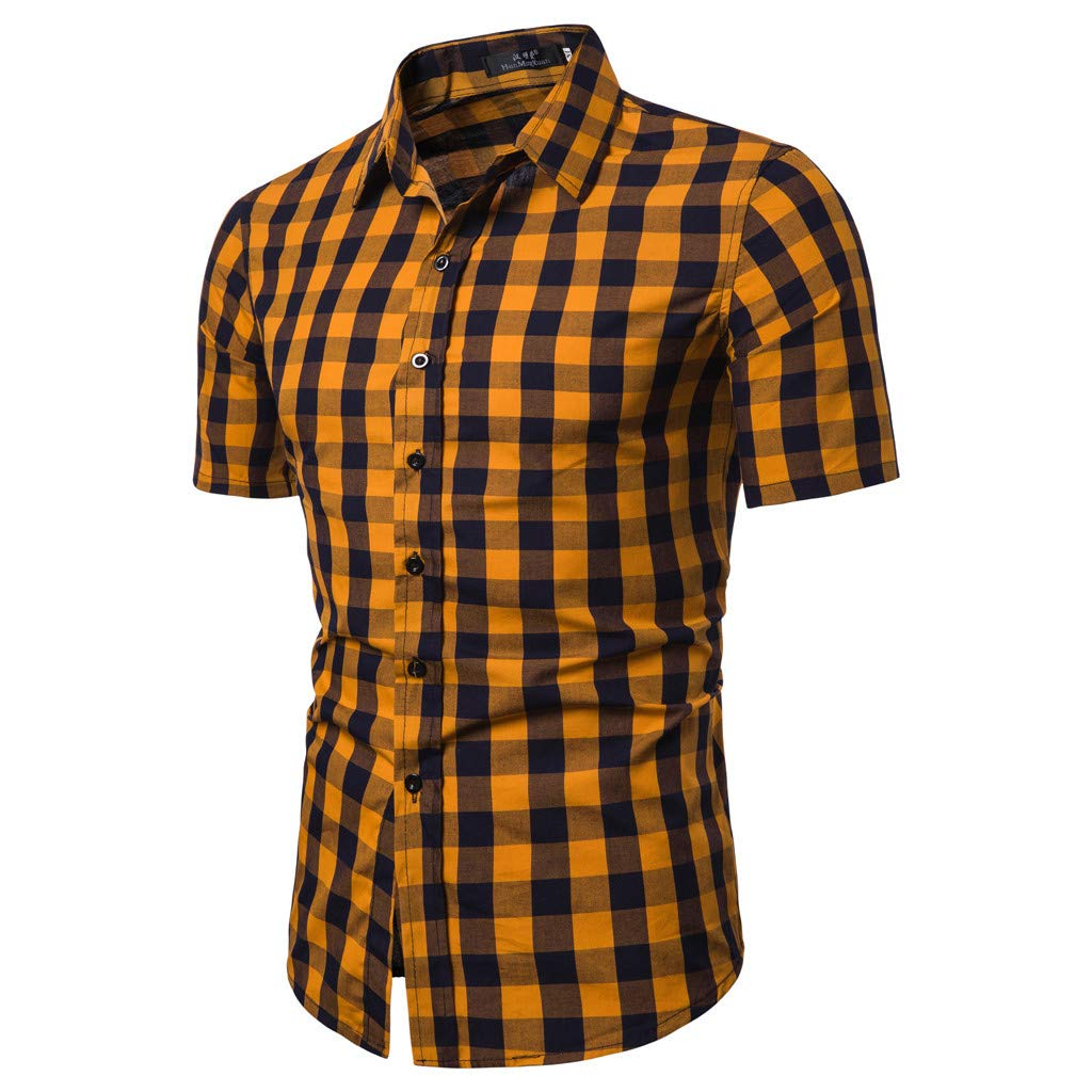 Tiitstoy 2019 Men's Daily Casual Lattice Splicing Pattern Tee Blouse Slim Fit Lapel Short Sleeve Tee Shirts (Yellow-E,Large) by Tiitstoy T-Shirts