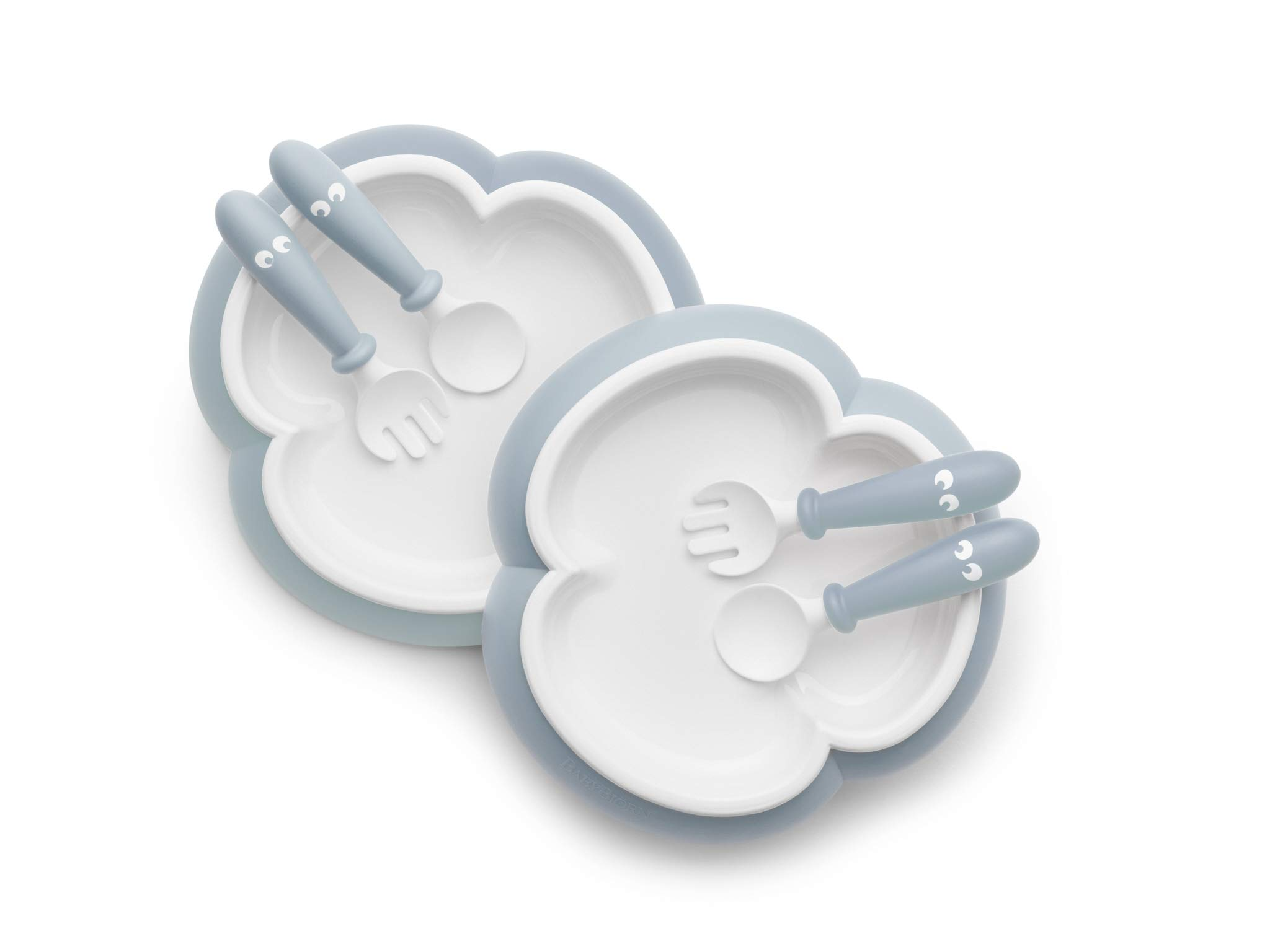 BABYBJORN Baby 2 Piece Plate, Spoon and Fork, Powder Blue by BabyBjörn (Image #1)