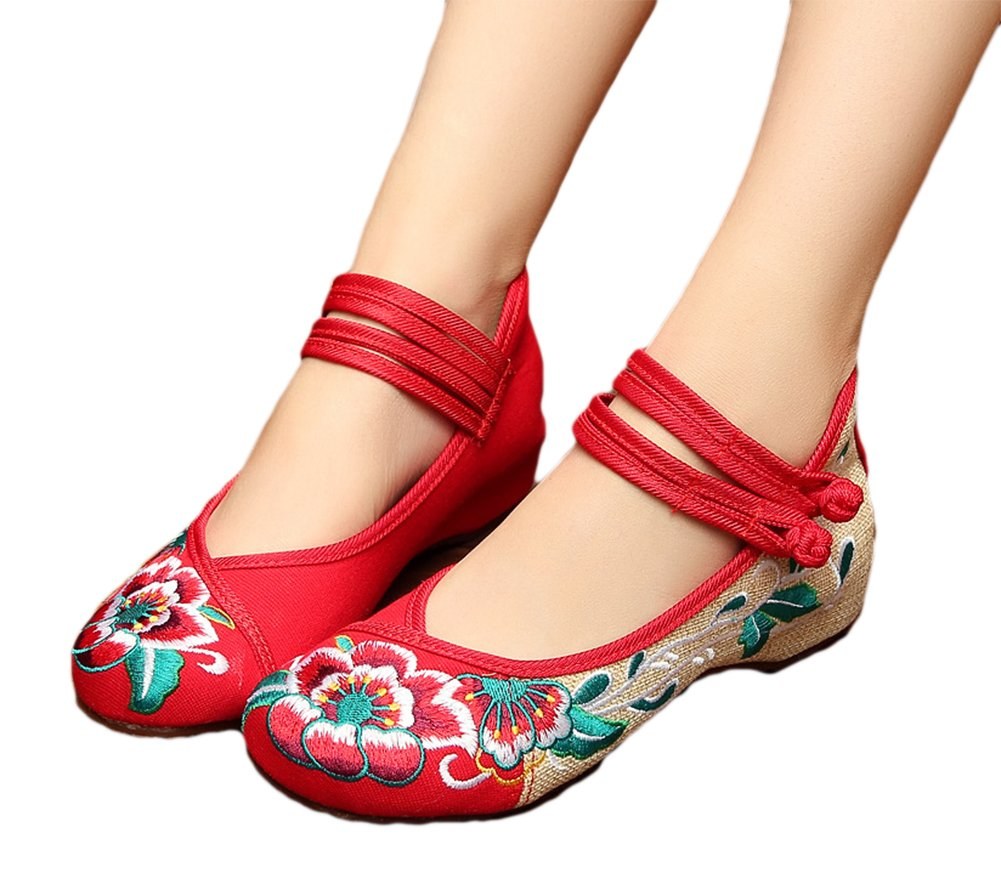 AvaCostume Rubber Sole Lotus Embroidery Flats Mary Jane Shoes for Womens B078GDG3PS 43 M EU|Red
