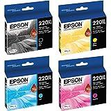 Epson 220XL Black/Color Combo 4 Pack T220XL120 (Black), T220XL220 (Cyan), T220XL320 (Magenta), T220XL420 (Yellow) DURABrite Ultra High Yield Ink Cartridge Set