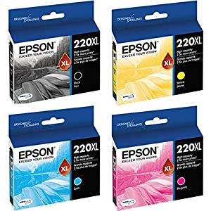 Epson 220XL Black/Color Combo 4 Pack T220XL120 (Black), T220XL220 (Cyan), T220XL320 (Magenta), T220XL420 (Yellow) DURABrite Ultra High Yield Ink Cartridge Set