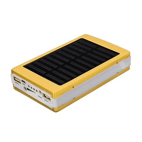 samlike Solar LED Portable Dual USB Energía Banco 5 x 18650 ...