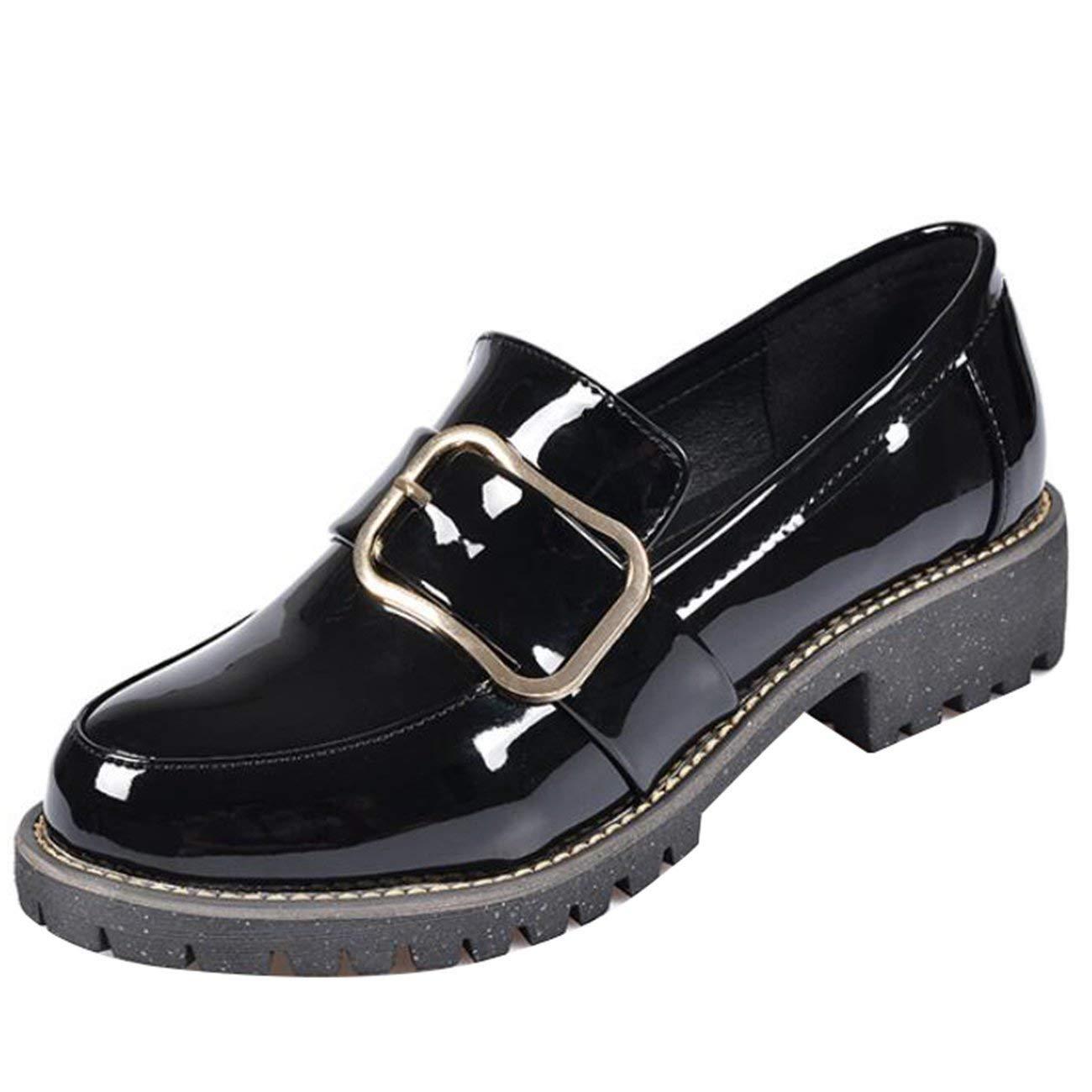 Fuxitoggo Damen Runde Toe Block-Heel Block-Heel Block-Heel Slip-On Metall Loafers (Farbe   Schwarz Größe   4 UK) 7bba20