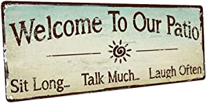 HBA Welcome to Our Patio Metal Sign, Outdoor Living, Rustic Decor