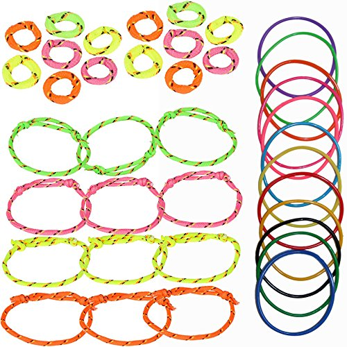 Nylon Rope Friendship Bracelets and Rings for Kids - 12 of Each - Assorted Neon Colors | 12 Multicolored Jelly Bracelet Pack | Best Novelty Party Favors