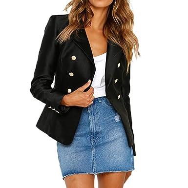 642f0988b205 Manteau De Bureau Femme Hiver Double Boutonnage Veste Blazer De Costume A  Manche Longues Manteau pour