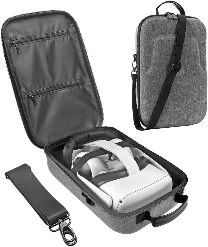 Akaigu Estuche de viaje duro para Oculus Quest todo en uno VR Gaming Headset y controladores accesorios bolsa de transporte (negro) (gris)