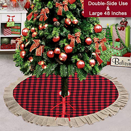 Partyprops Christmas Tree Skirt, Large 48 Inch Red Black Buffalo Plaid Tree Skirt, Burlap Ruffle Double Layers Tree Skirt for Christmas Decorations, Xmas Holiday Decorations Indoor Outdoor (Burlap Christmas Tree Skirt Red)