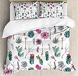 Twin Size Cactus Decor 4 piece Duvet Cover Set Bedspread, Vintage Botanical Pattern Arrows Feathers Succulent Twigs Hawaii Spring Tropic, 4pcs Bedding Set for Kids/Childrens/Adults Decor, Multicolor