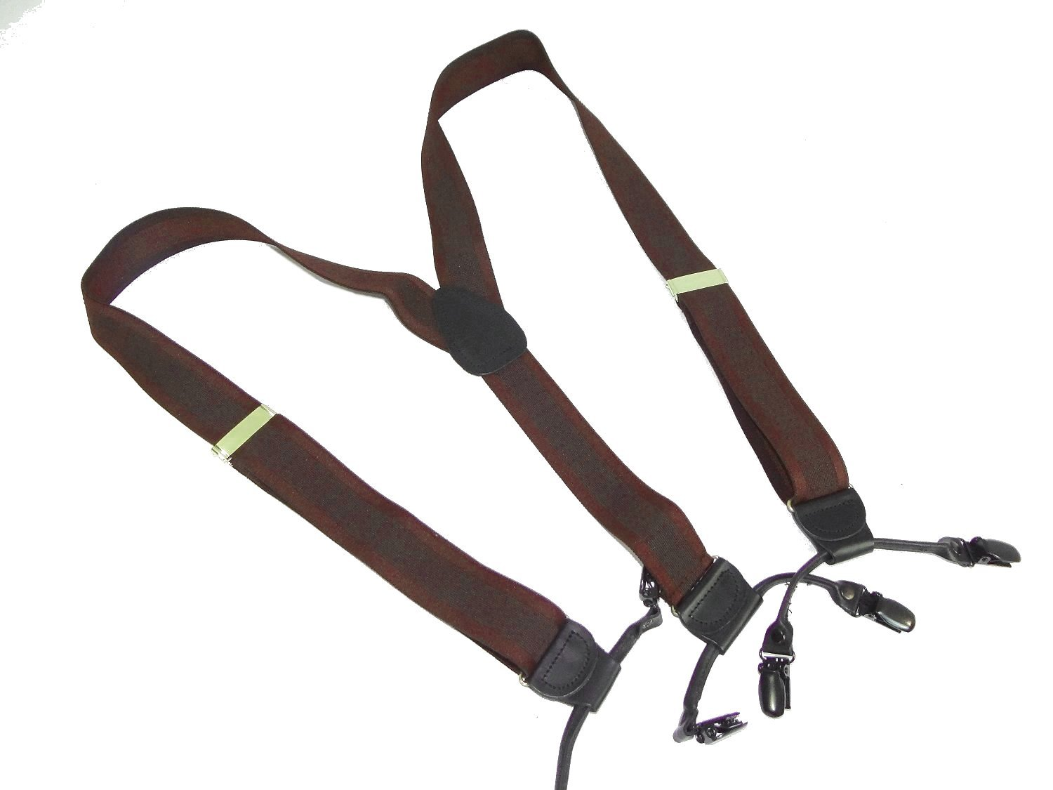 Hold-Up Brand Cordovan Jacquard Dual-clip Men's Y-back Suspenders with Patented no-slip clips