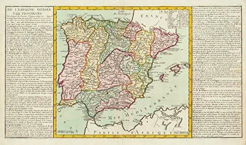 Antiqua Print Gallery De L Espagne divisã © e Par provincias por J-B. L. Clouet. España Iberia – 1787 – Mapa Antiguo – diseño de Mapa Antiguo Mapa – diseño – Vintage Mapas de Iberia: Amazon.es: Hogar